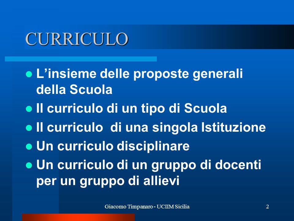 Giacomo Timpanaro - UCIIM Sicilia2 CURRICULO Linsieme delle proposte generali della Scuola Il curriculo di un tipo di Scuola Il curriculo di una singo