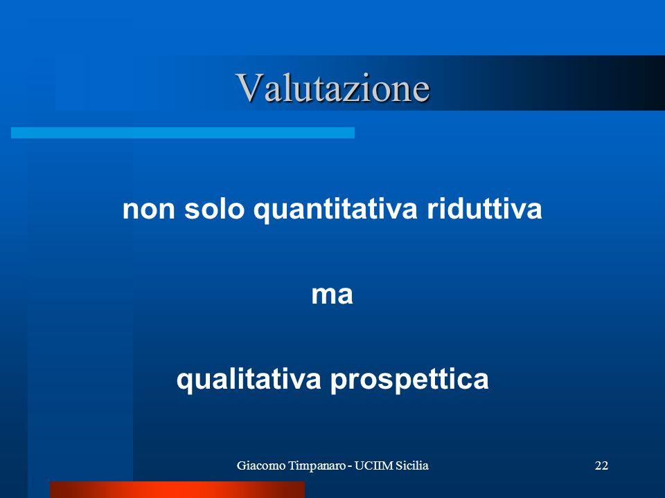 Giacomo Timpanaro - UCIIM Sicilia22 Valutazione non solo quantitativa riduttiva ma qualitativa prospettica