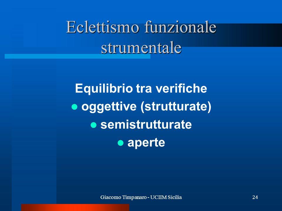 Giacomo Timpanaro - UCIIM Sicilia24 Eclettismo funzionale strumentale Equilibrio tra verifiche oggettive (strutturate) semistrutturate aperte