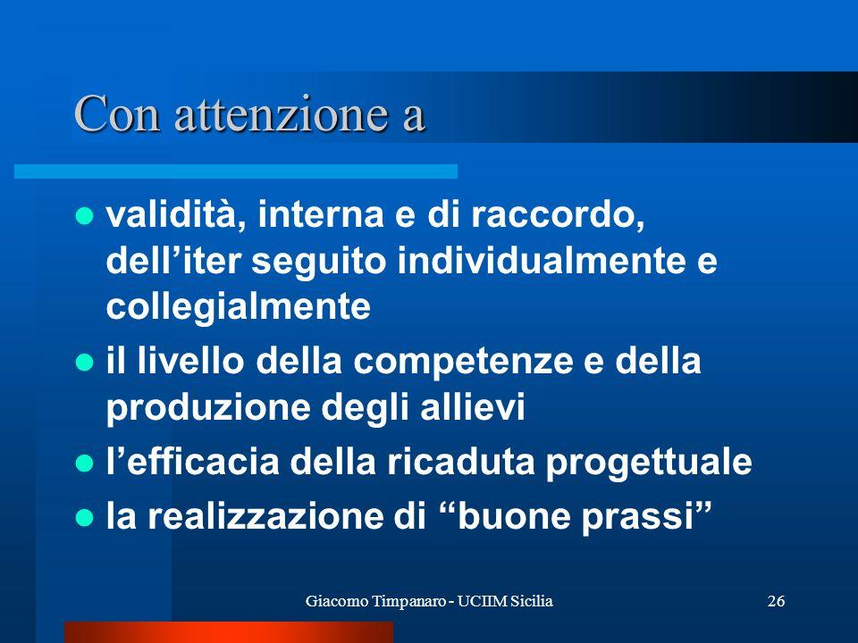 Giacomo Timpanaro - UCIIM Sicilia26 Con attenzione a validità, interna e di raccordo, delliter seguito individualmente e collegialmente il livello del