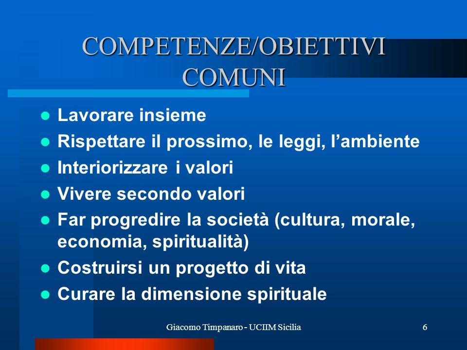 Giacomo Timpanaro - UCIIM Sicilia6 COMPETENZE/OBIETTIVI COMUNI Lavorare insieme Rispettare il prossimo, le leggi, lambiente Interiorizzare i valori Vi