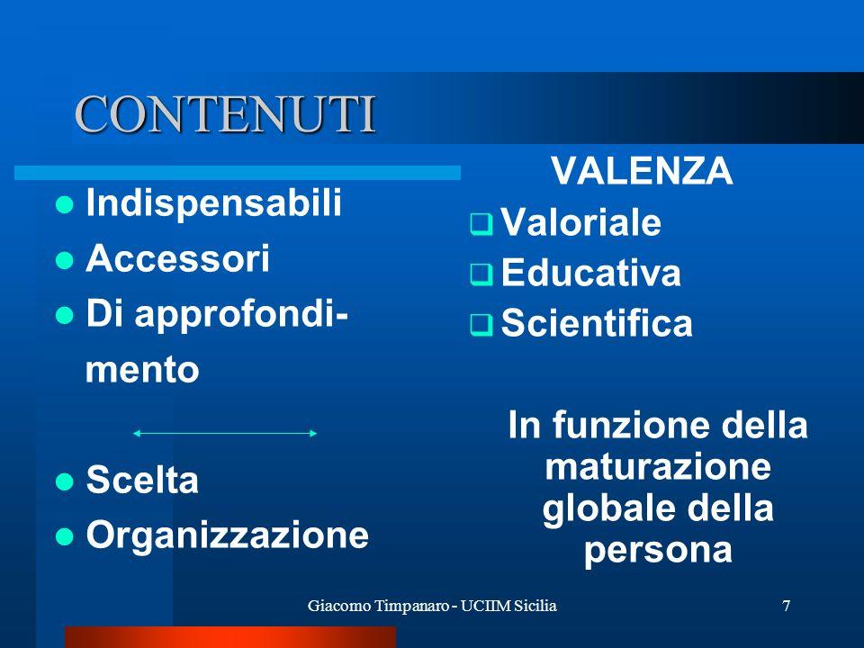 Giacomo Timpanaro - UCIIM Sicilia7 CONTENUTI Indispensabili Accessori Di approfondi- mento Scelta Organizzazione VALENZA Valoriale Educativa Scientifi