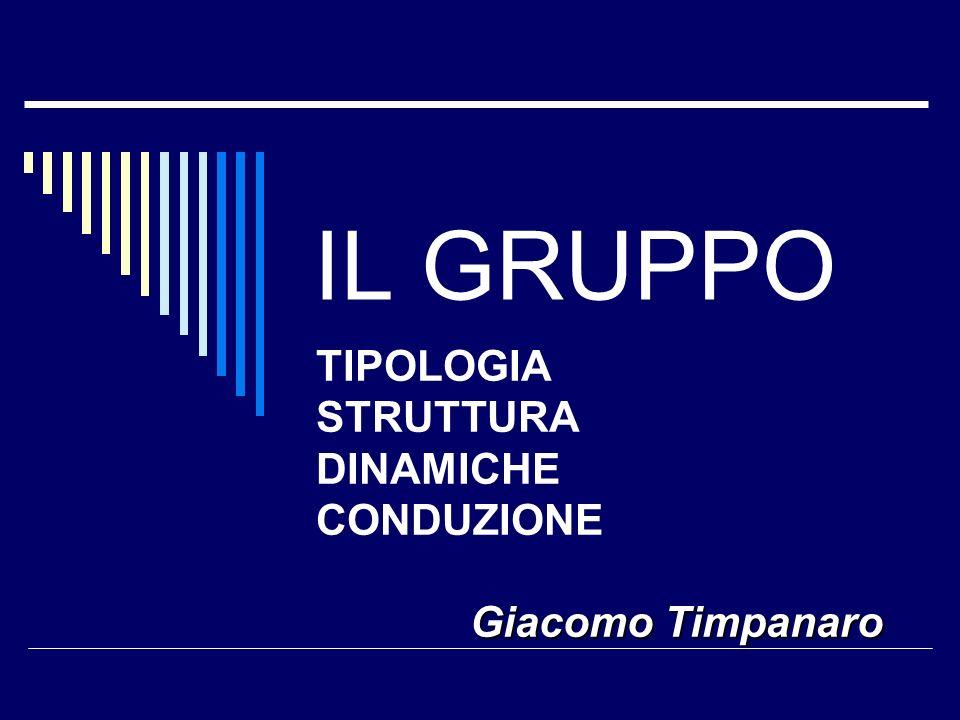 IL GRUPPO TIPOLOGIA STRUTTURA DINAMICHE CONDUZIONE Giacomo Timpanaro