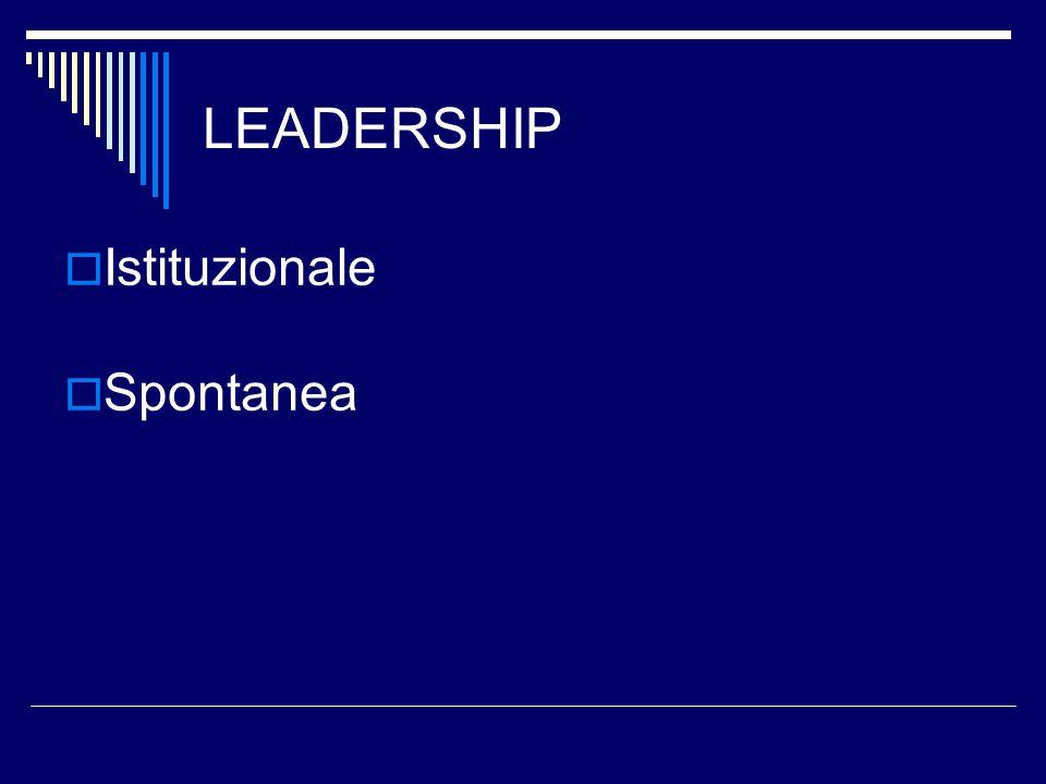 LEADERSHIP Istituzionale Spontanea