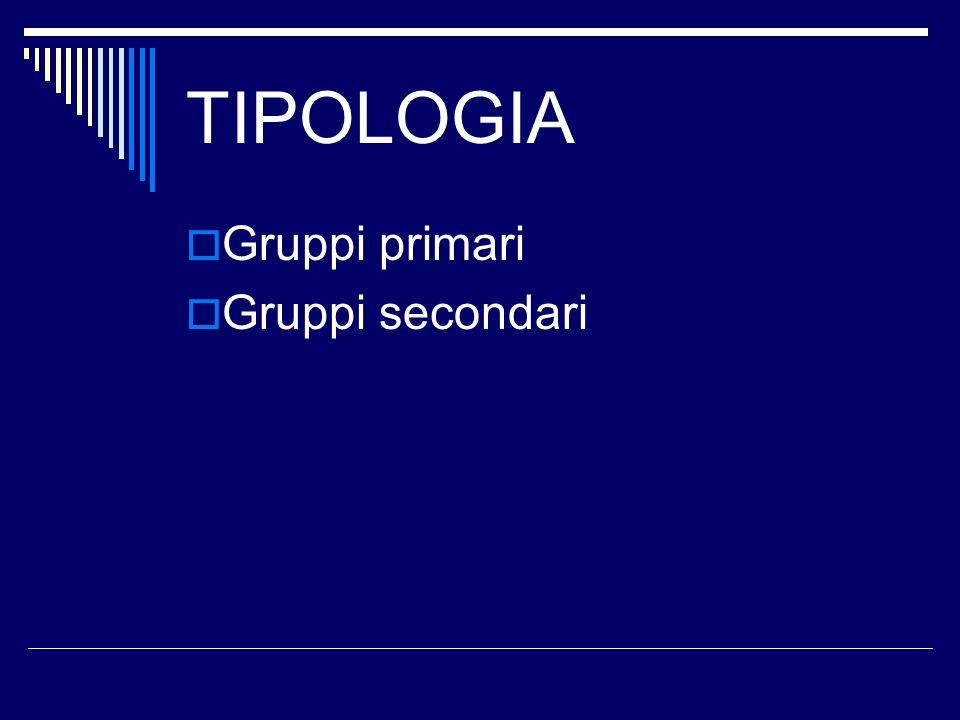 TIPOLOGIA Gruppi primari Gruppi secondari