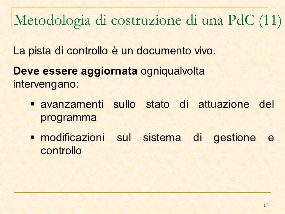 17 Metodologia di costruzione di una PdC (11) La pista di controllo è un documento vivo.