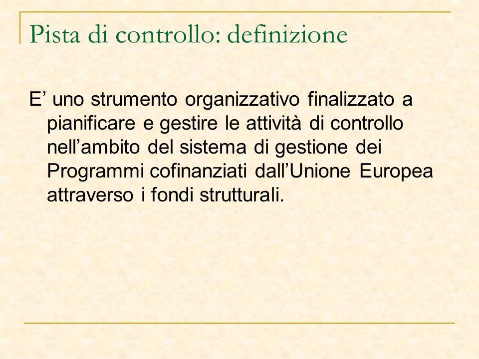Pista di controllo: definizione E uno strumento organizzativo finalizzato a pianificare e gestire le attività di controllo nellambito del sistema di gestione dei Programmi cofinanziati dallUnione Europea attraverso i fondi strutturali.