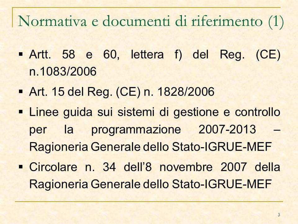 3 Normativa e documenti di riferimento (1) Artt. 58 e 60, lettera f) del Reg.