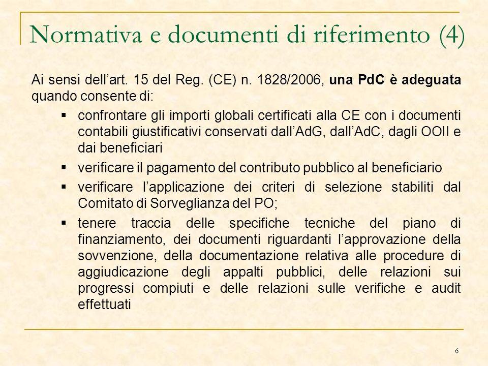 6 Normativa e documenti di riferimento (4) Ai sensi dellart.