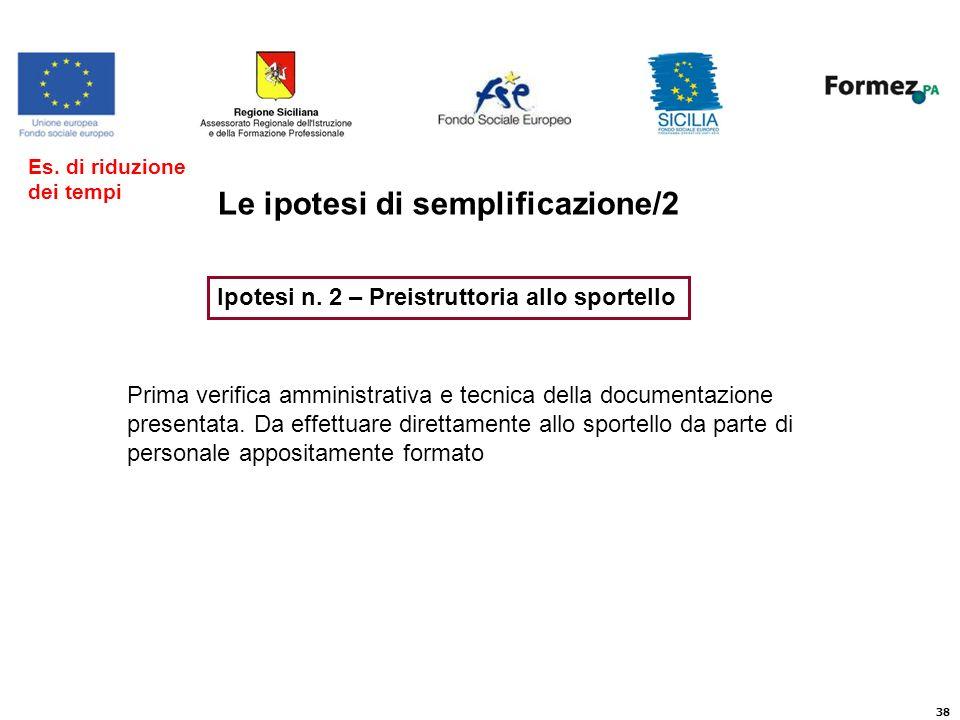 38 Le ipotesi di semplificazione/2 Ipotesi n.