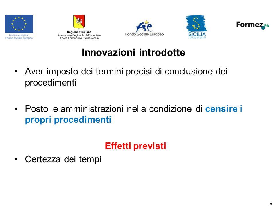5 Innovazioni introdotte Aver imposto dei termini precisi di conclusione dei procedimenti Posto le amministrazioni nella condizione di censire i propri procedimenti Effetti previsti Certezza dei tempi