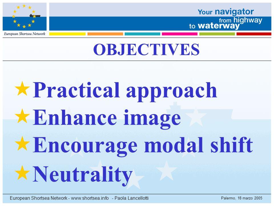 Palermo, 18 marzo 2005 European Shortsea Network - www.shortsea.info - Paola Lancellotti OBJECTIVES Practical approach Enhance image Encourage modal s