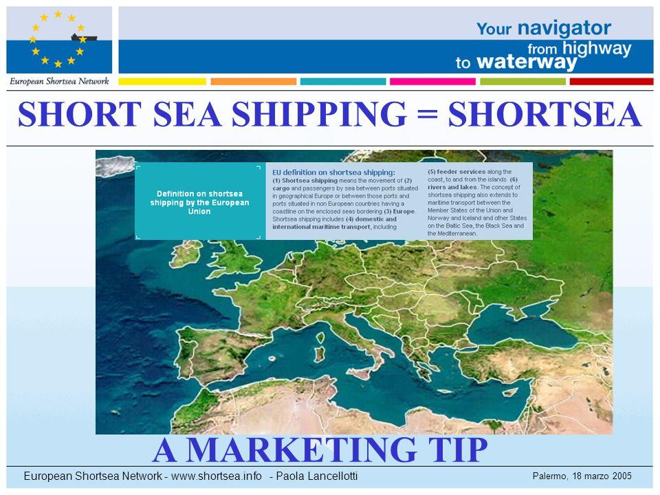 Palermo, 18 marzo 2005 European Shortsea Network - www.shortsea.info - Paola Lancellotti SHORT SEA SHIPPING = SHORTSEA A MARKETING TIP
