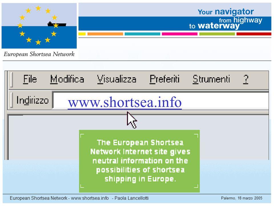 Palermo, 18 marzo 2005 European Shortsea Network - www.shortsea.info - Paola Lancellotti www.shortsea.info
