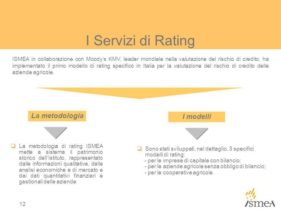 12 ISMEA in collaborazione con Moodys KMV, leader mondiale nella valutazione del rischio di credito, ha implementato il primo modello di rating specifico in Italia per la valutazione del rischio di credito delle aziende agricole.