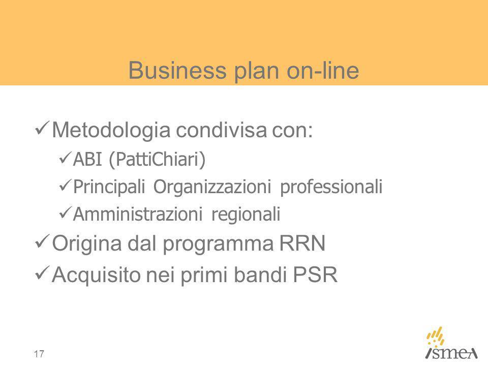 17 Business plan on-line Metodologia condivisa con: ABI (PattiChiari) Principali Organizzazioni professionali Amministrazioni regionali Origina dal programma RRN Acquisito nei primi bandi PSR
