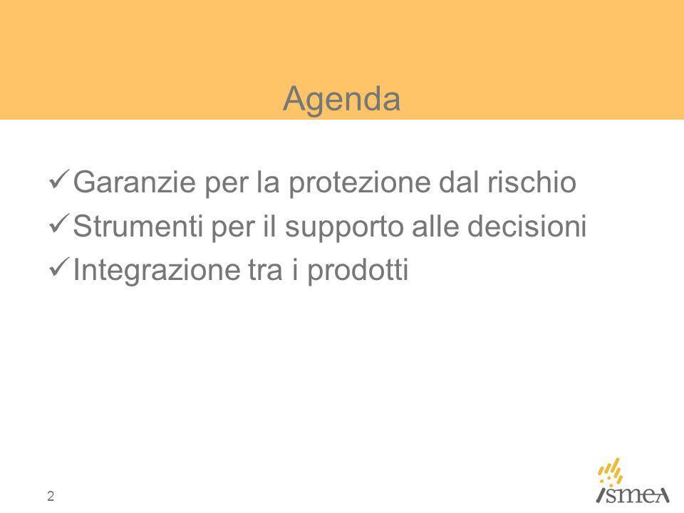 2 Agenda Garanzie per la protezione dal rischio Strumenti per il supporto alle decisioni Integrazione tra i prodotti