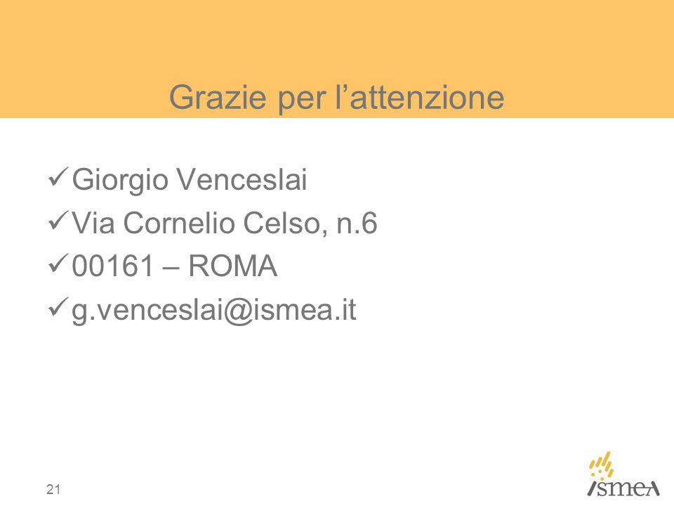 21 Grazie per lattenzione Giorgio Venceslai Via Cornelio Celso, n.6 00161 – ROMA g.venceslai@ismea.it