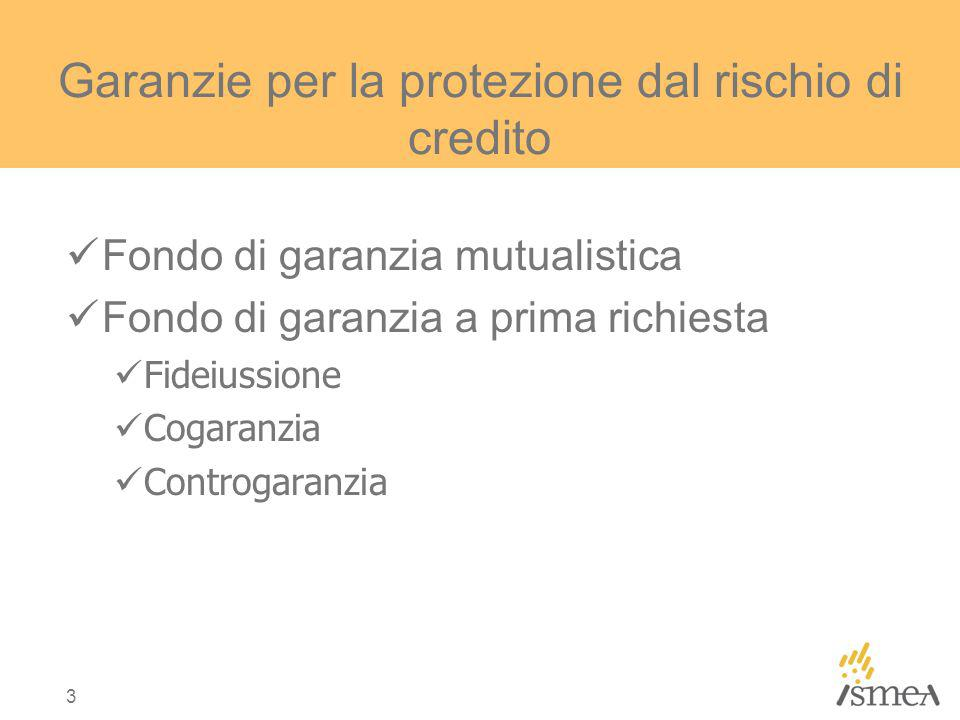 3 Garanzie per la protezione dal rischio di credito Fondo di garanzia mutualistica Fondo di garanzia a prima richiesta Fideiussione Cogaranzia Controgaranzia