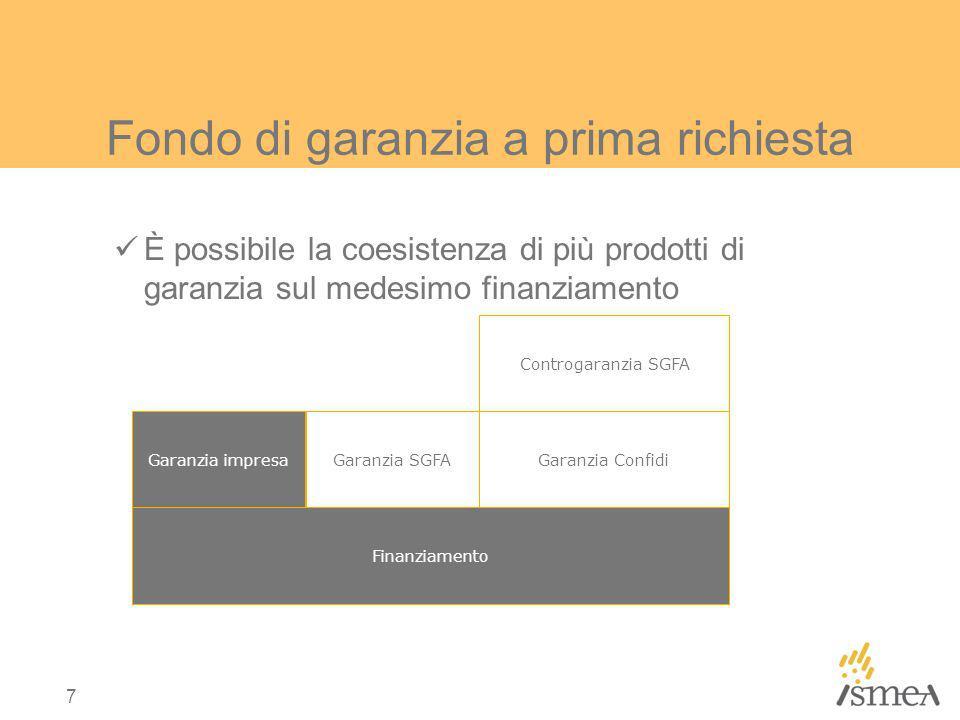 7 Fondo di garanzia a prima richiesta È possibile la coesistenza di più prodotti di garanzia sul medesimo finanziamento Garanzia impresa Finanziamento Garanzia Confidi Controgaranzia SGFA Garanzia SGFA