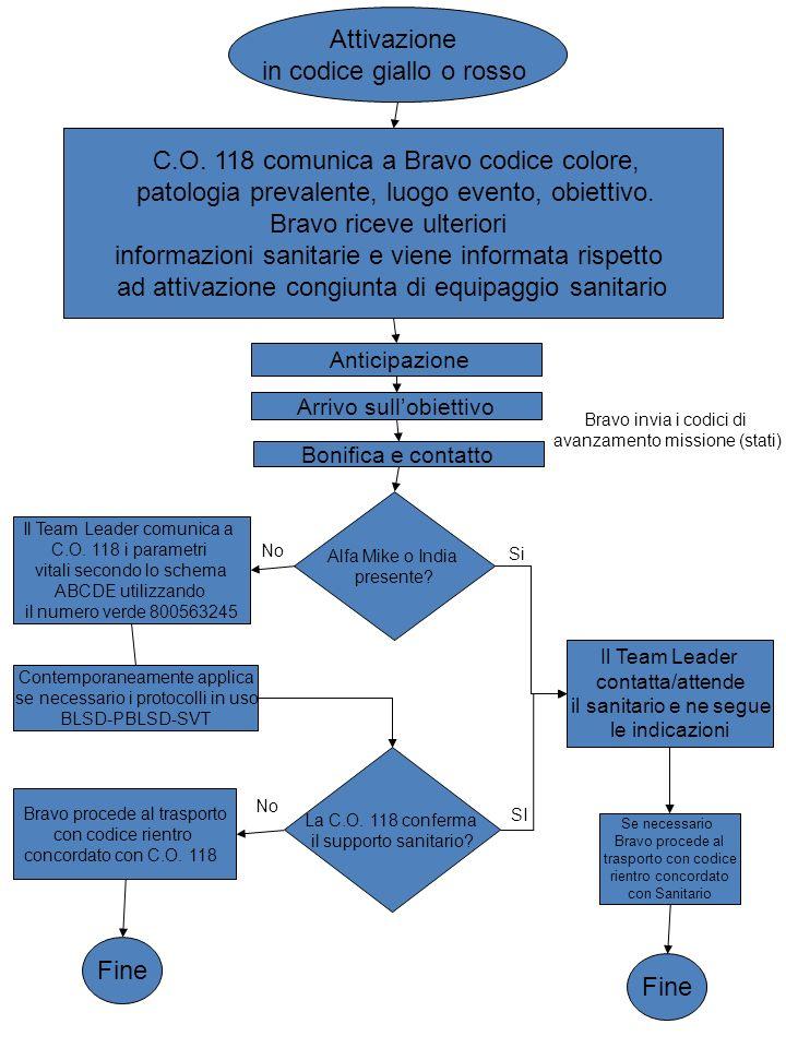 C.O. 118 comunica a Bravo codice colore, patologia prevalente, luogo evento, obiettivo. Bravo riceve ulteriori informazioni sanitarie e viene informat