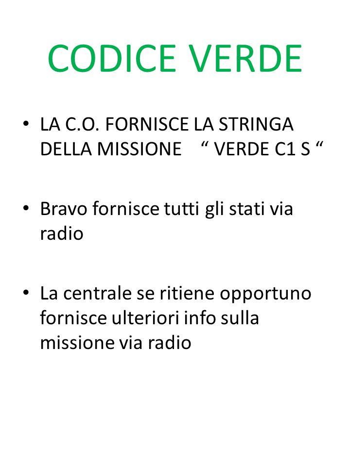CODICE VERDE LA C.O. FORNISCE LA STRINGA DELLA MISSIONE VERDE C1 S Bravo fornisce tutti gli stati via radio La centrale se ritiene opportuno fornisce