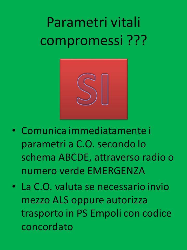 Parametri vitali compromessi ??? Comunica immediatamente i parametri a C.O. secondo lo schema ABCDE, attraverso radio o numero verde EMERGENZA La C.O.