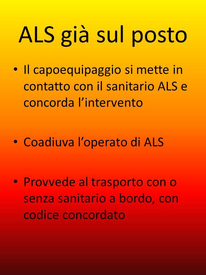 ALS già sul posto Il capoequipaggio si mette in contatto con il sanitario ALS e concorda lintervento Coadiuva loperato di ALS Provvede al trasporto co