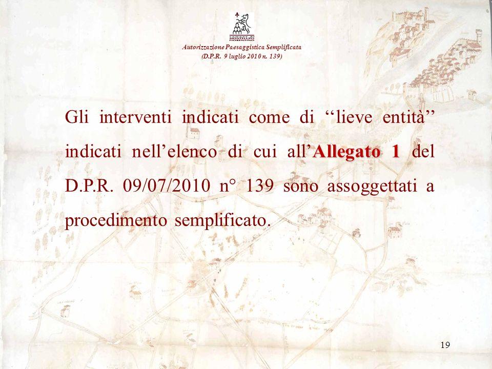 19 Autorizzazione Paesaggistica Semplificata (D.P.R. 9 luglio 2010 n. 139) Allegato 1 Gli interventi indicati come di lieve entità indicati nellelenco