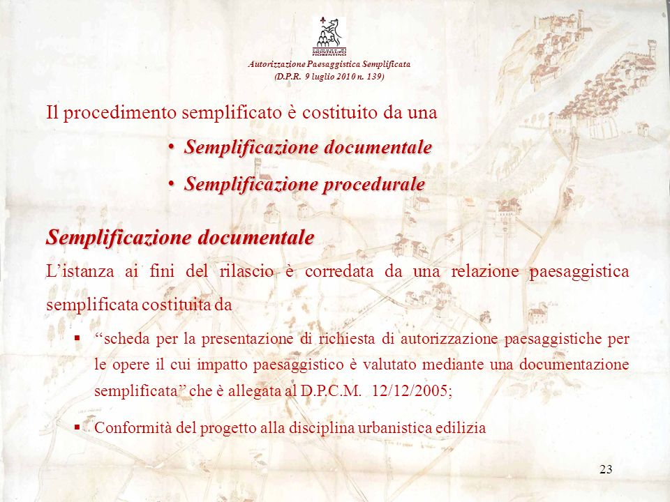23 Il procedimento semplificato è costituito da una Semplificazione documentale Semplificazione documentale Semplificazione procedurale Semplificazion