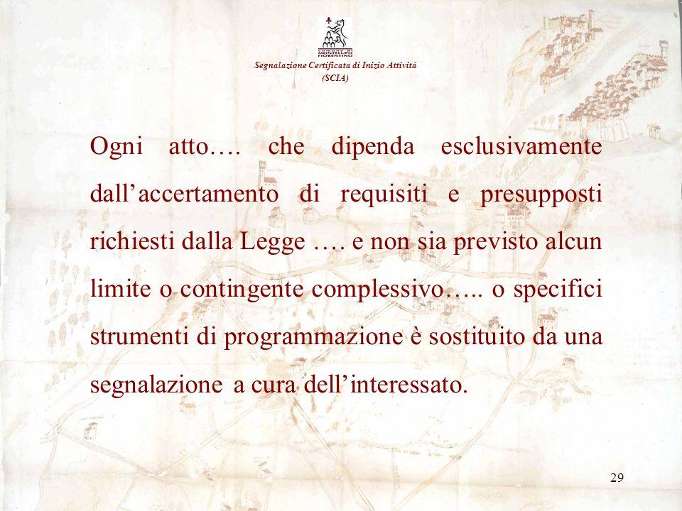 29 Segnalazione Certificata di Inizio Attività (SCIA) Ogni atto…. che dipenda esclusivamente dallaccertamento di requisiti e presupposti richiesti dal