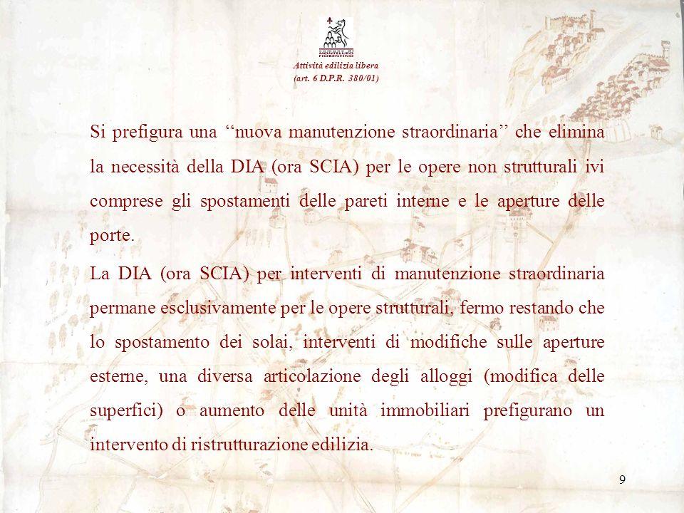 9 Si prefigura una nuova manutenzione straordinaria che elimina la necessità della DIA (ora SCIA) per le opere non strutturali ivi comprese gli sposta