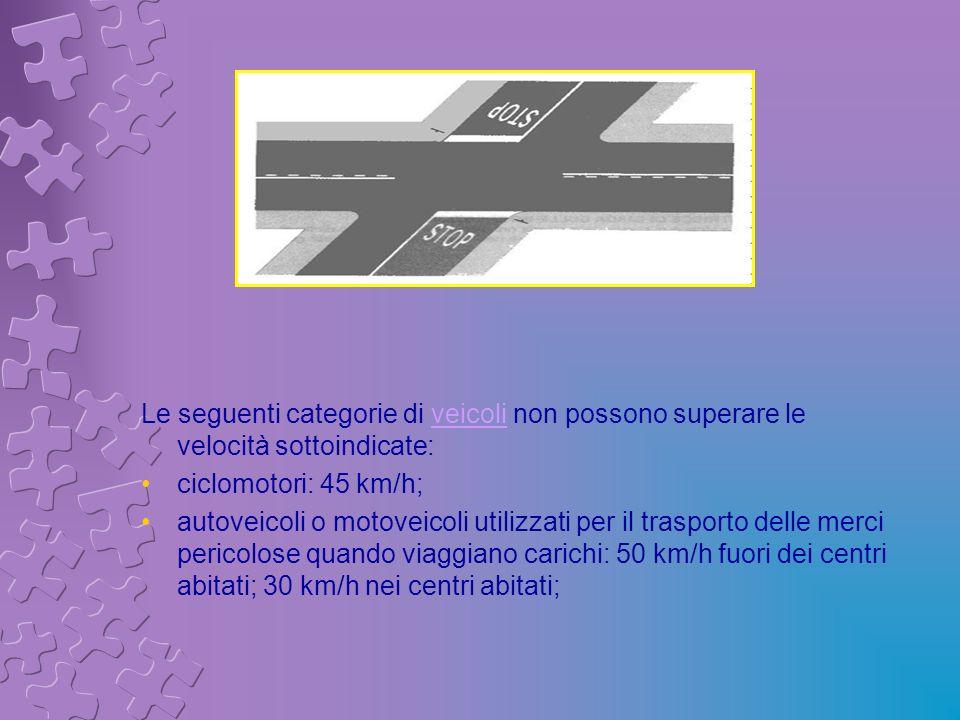 Le seguenti categorie di veicoli non possono superare le velocità sottoindicate:veicoli ciclomotori: 45 km/h; autoveicoli o motoveicoli utilizzati per