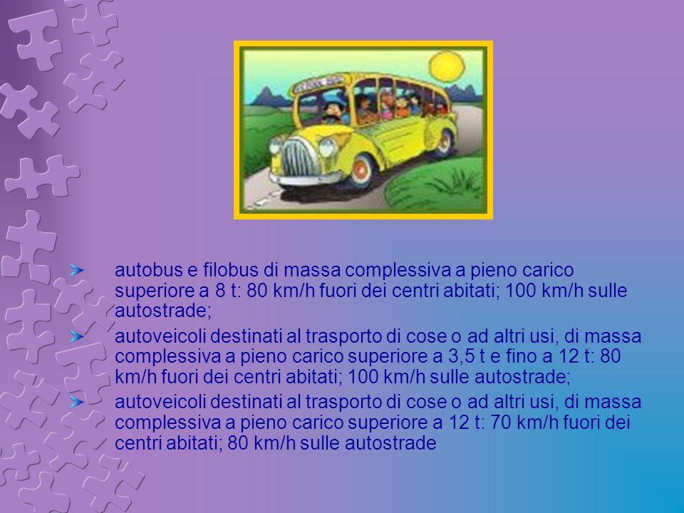 autobus e filobus di massa complessiva a pieno carico superiore a 8 t: 80 km/h fuori dei centri abitati; 100 km/h sulle autostrade; autoveicoli destin