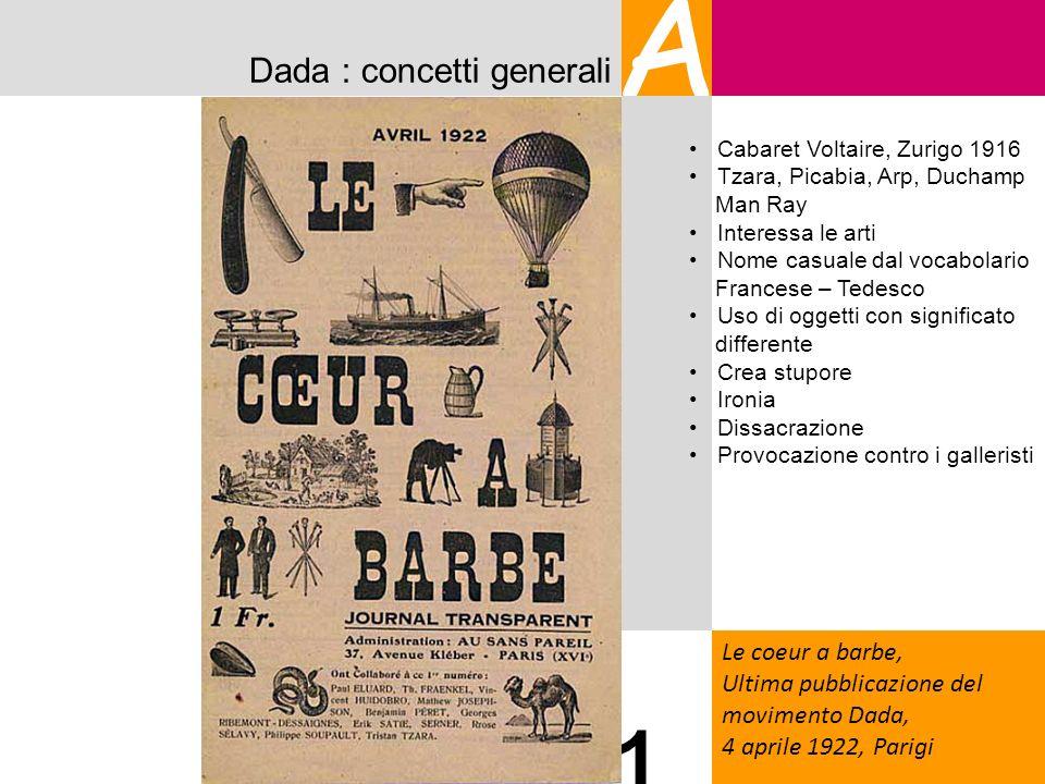 Dada : concetti generali A Le coeur a barbe, Ultima pubblicazione del movimento Dada, 4 aprile 1922, Parigi 1 Cabaret Voltaire, Zurigo 1916 Tzara, Pic