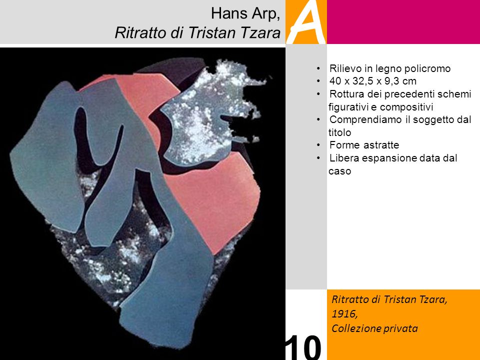 Hans Arp, Ritratto di Tristan Tzara A Ritratto di Tristan Tzara, 1916, Collezione privata 10 Rilievo in legno policromo 40 x 32,5 x 9,3 cm Rottura dei