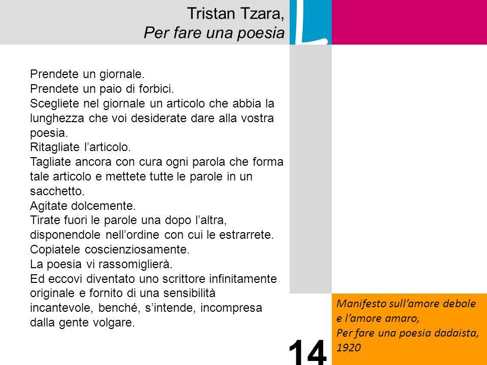 Tristan Tzara, Per fare una poesia L Manifesto sullamore debole e lamore amaro, Per fare una poesia dadaista, 1920 14 Prendete un giornale. Prendete u