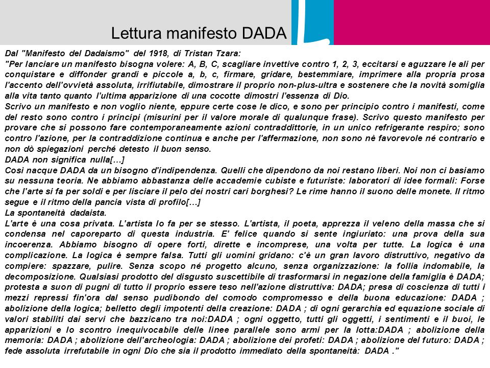 Lettura manifesto DADA L Dal