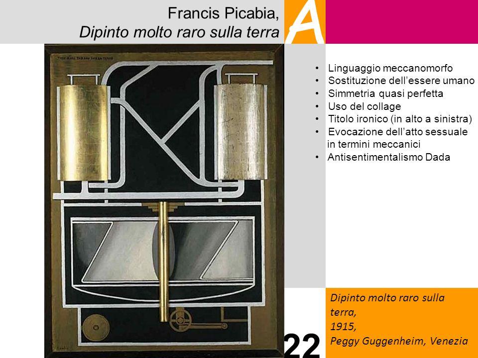 Francis Picabia, Dipinto molto raro sulla terra A Dipinto molto raro sulla terra, 1915, Peggy Guggenheim, Venezia 22 Linguaggio meccanomorfo Sostituzi