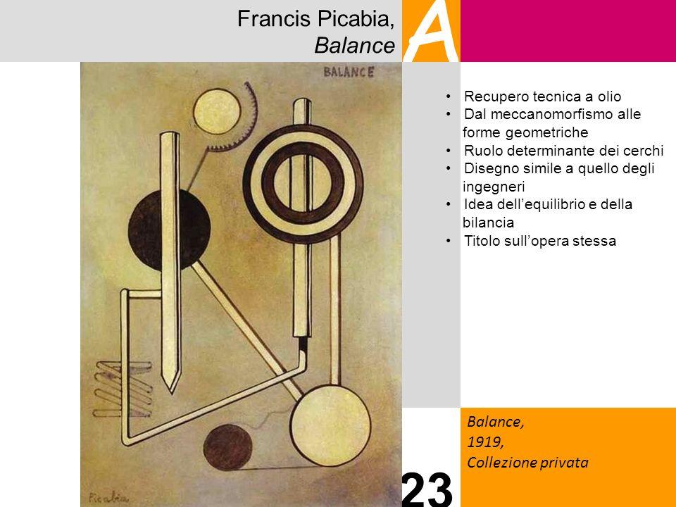 Francis Picabia, Balance A Balance, 1919, Collezione privata 23 Recupero tecnica a olio Dal meccanomorfismo alle forme geometriche Ruolo determinante