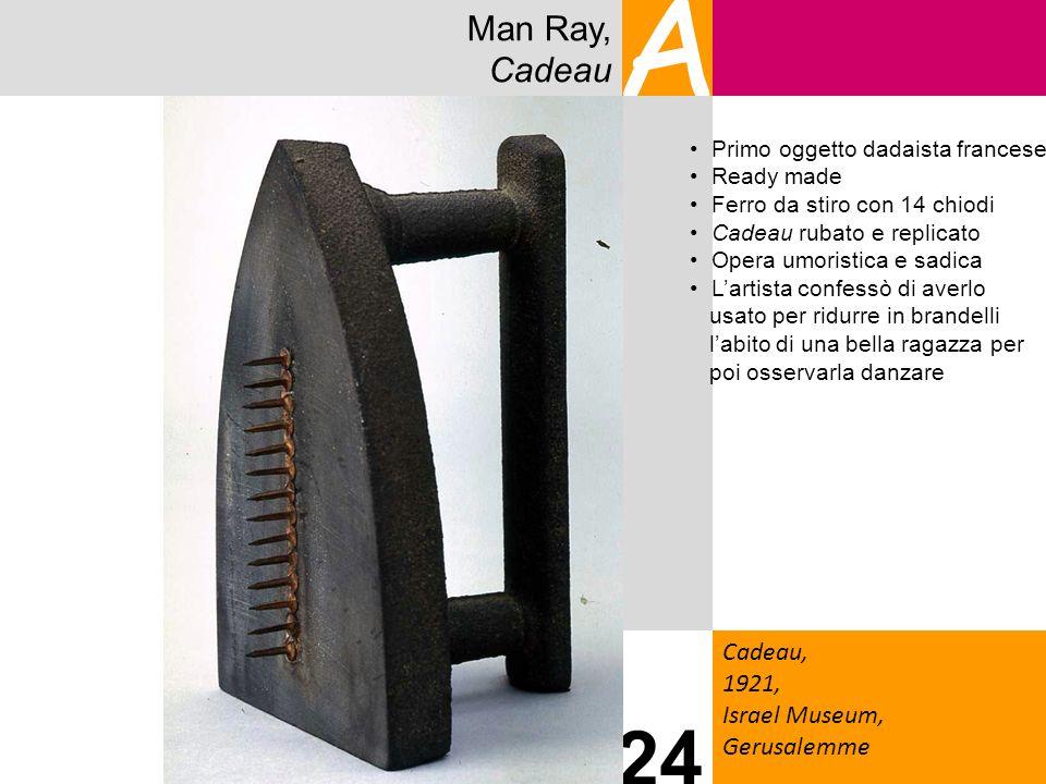 Man Ray, Cadeau A Cadeau, 1921, Israel Museum, Gerusalemme 24 Primo oggetto dadaista francese Ready made Ferro da stiro con 14 chiodi Cadeau rubato e