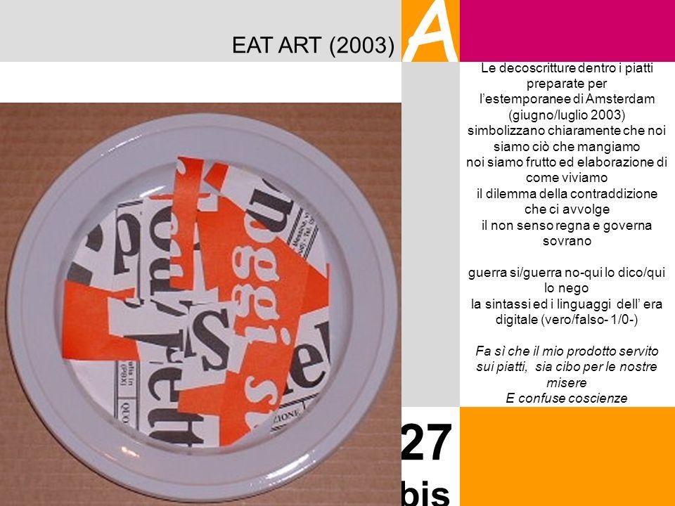 EAT ART (2003) A 27 bis Le decoscritture dentro i piatti preparate per lestemporanee di Amsterdam (giugno/luglio 2003) simbolizzano chiaramente che no