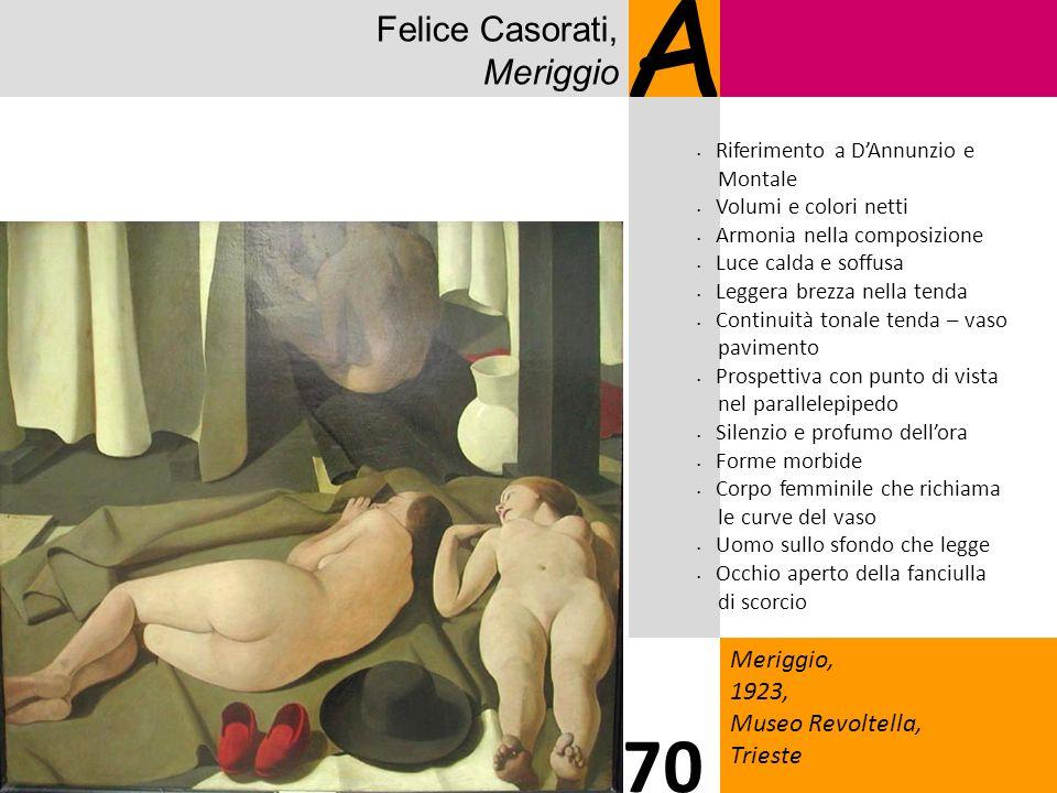 Felice Casorati, Meriggio A Meriggio, 1923, Museo Revoltella, Trieste 70 Riferimento a DAnnunzio e Montale Volumi e colori netti Armonia nella composi