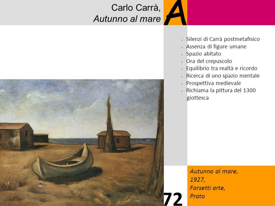 Carlo Carrà, Autunno al mare A Autunno al mare, 1927, Farsetti arte, Prato 72 Silenzi di Carrà postmetafisico Assenza di figure umane Spazio abitato O