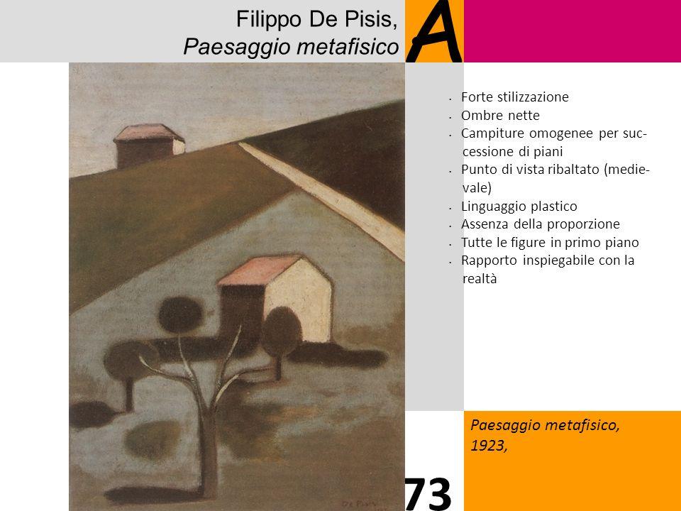 Filippo De Pisis, Paesaggio metafisico A Paesaggio metafisico, 1923, 73 Forte stilizzazione Ombre nette Campiture omogenee per suc- cessione di piani