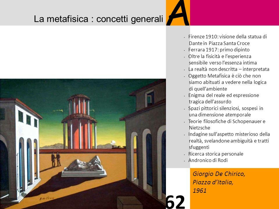 La metafisica : concetti generali A Giorgio De Chirico, Piazza dItalia, 1961 62 Firenze 1910: visione della statua di Dante in Piazza Santa Croce Ferr