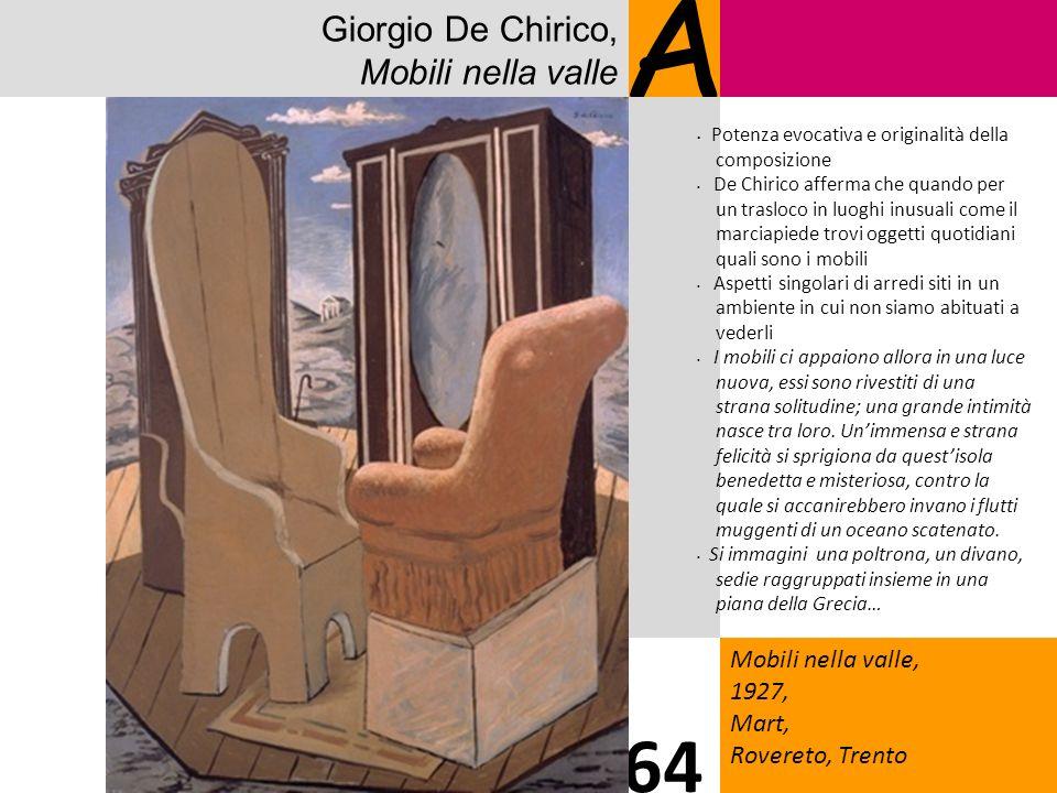 Giorgio De Chirico, Mobili nella valle A Mobili nella valle, 1927, Mart, Rovereto, Trento 64 Potenza evocativa e originalità della composizione De Chi