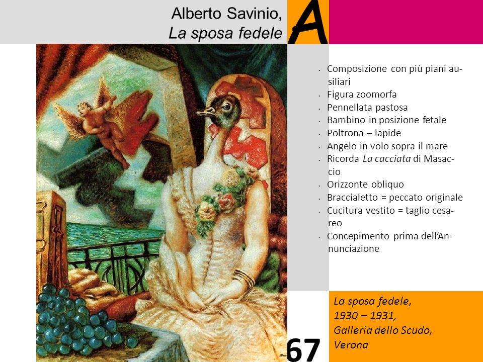Alberto Savinio, La sposa fedele A La sposa fedele, 1930 – 1931, Galleria dello Scudo, Verona 67 Composizione con più piani au- siliari Figura zoomorf