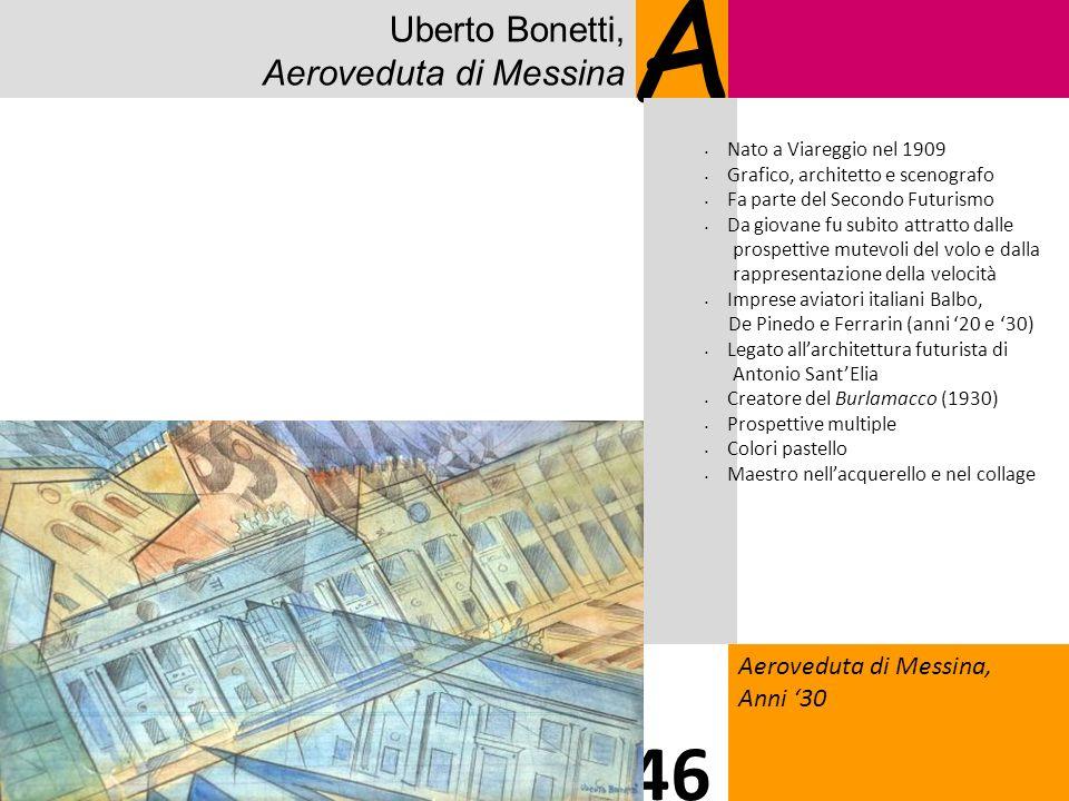 Uberto Bonetti, Aeroveduta di Messina A Aeroveduta di Messina, Anni 30 46 Nato a Viareggio nel 1909 Grafico, architetto e scenografo Fa parte del Seco
