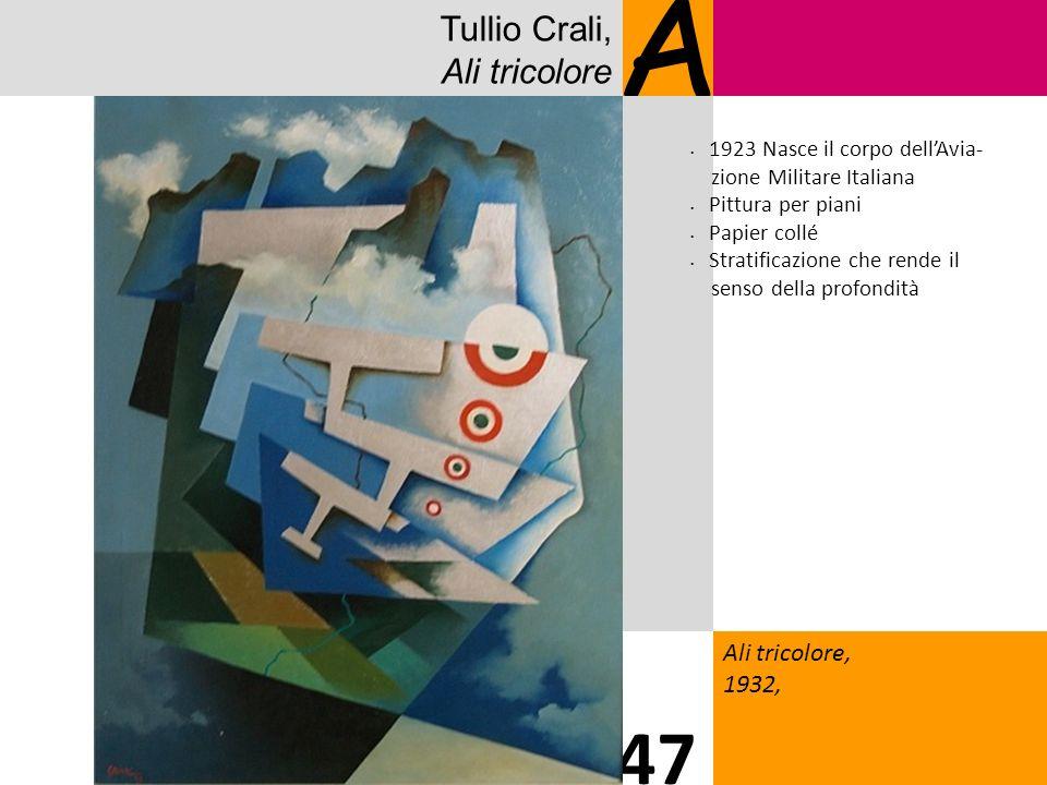 Tullio Crali, Ali tricolore A Ali tricolore, 1932, 47 1923 Nasce il corpo dellAvia- zione Militare Italiana Pittura per piani Papier collé Stratificazione che rende il senso della profondità
